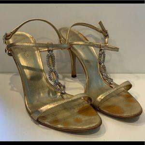 Aldo Gold Rhinestone Embellished T-Strap Sandals